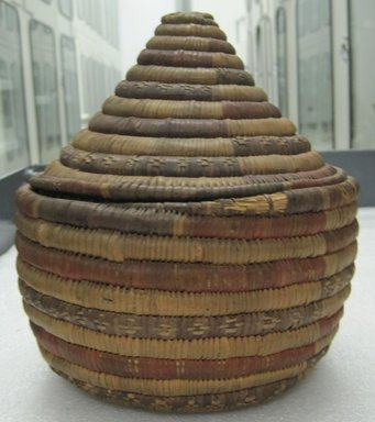 Basket with Cover, mid 20th century. Raffia, 6 15/16 x 6 7/8 in.  (17.7 x 17.5 cm). Brooklyn Museum, Gift of Mary E. Johnson, 51.243.21a-b. Creative Commons-BY