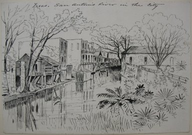 Frank Hamilton Taylor (American, 1846-1926). Texas, San Antonio River in the City, ca. 1875-1885. Pen and ink on paper, sheet: 6 7/8 x 9 15/16 in. (17.5 x 25.2 cm). Brooklyn Museum, Dick S. Ramsay Fund, 51.70