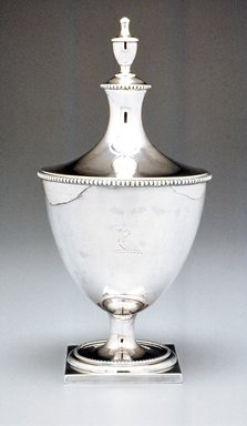 Myer Myers (American, 1723-1795). Sugar Bowl with Lid, ca. 1800. Silver, 9 1/4 x 4 1/2 in.  (23.5 x 11.4 cm). Brooklyn Museum, Gift of Stephen Ensko, 52.154a-b. Creative Commons-BY