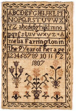 Amelia Farrington. Sampler, 1807. Linen, 8 x 11 3/4 in. (20.3 x 29.8 cm). Brooklyn Museum, Gift of the Monroe and Estelle Hewlett Collection, 52.93.33. Creative Commons-BY