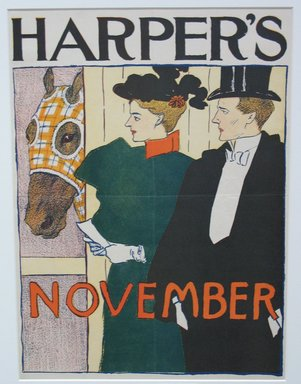 Edward Penfield (American, 1866-1925). Harper's Poster - November 1895, 1895. Lithograph on wove paper, sheet: 16 7/16 x 9 in. (41.7 x 22.8 cm). Brooklyn Museum, Dick S. Ramsay Fund, 53.167.14