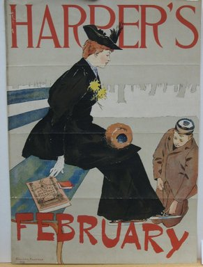 Edward Penfield (American, 1866-1925). Harper's Poster - February 1894, 1894. Lithograph on wove paper, Sheet: 15 7/8 x 11 1/4 in. (40.4 x 28.6 cm). Brooklyn Museum, Dick S. Ramsay Fund, 53.167.7