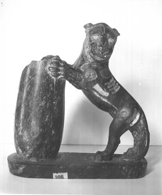 Serpentine Statuette in the Round of Lion, 525-404 B.C.E. Serpentine, 6 1/4 x 2 3/16 x 6 1/8 in. (15.8 x 5.5 x 15.5 cm). Brooklyn Museum, Gift of Henry Hottinger, 53.221.1. Creative Commons-BY