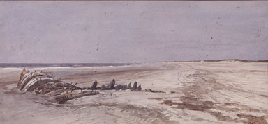 William Trost Richards (American, 1833-1905). Beach Scene with Wreck. Watercolor, 6 3/4 x 13 7/8 in. (17.1 x 35.2 cm). Brooklyn Museum, Bequest of Mrs. William T. Brewster through the National Academy of Design, 53.226