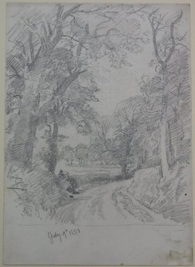 William Trost Richards (American, 1833-1905). Woodard Road, July 9, 1880. Graphite on paper, Sheet: 14 x 9 15/16 in. (35.6 x 25.2 cm). Brooklyn Museum, Bequest of Mrs. William T. Brewster, 53.242.4