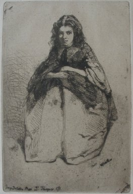 James Abbott McNeill Whistler (American, 1834-1903). Portrait of Young Girl. Etching on paper, Image: 6 3/8 x 4 1/4 in. (16.2 x 10.8 cm). Brooklyn Museum, Gift of Robert E. Blum, 53.99.5