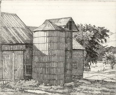 Luigi Lucioni (American, born Italy, 1900-1988). Silo and Barn in Summer, 1943. Etching on Japan paper, Plate: 4 x 5 in. (10.2 x 12.7 cm). Brooklyn Museum, Gift of Mrs. Horace O. Havemeyer, 54.35.14