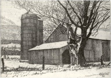 Luigi Lucioni (American, born Italy, 1900-1988). Silo and Barn in Winter, 1942. Etching on Japan paper, Plate: 4 1/4 x 6 in. (10.8 x 15.2 cm). Brooklyn Museum, Gift of Mrs. Horace O. Havemeyer, 54.35.17
