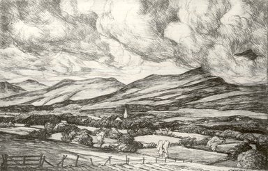 Luigi Lucioni (American, born Italy, 1900-1988). Landscape with Clouds, 1940. Etching and drypoint on Japan paper, Plate: 3 1/2 x 5 3/8 in. (8.9 x 13.7 cm). Brooklyn Museum, Gift of Mrs. Horace O. Havemeyer, 54.35.18