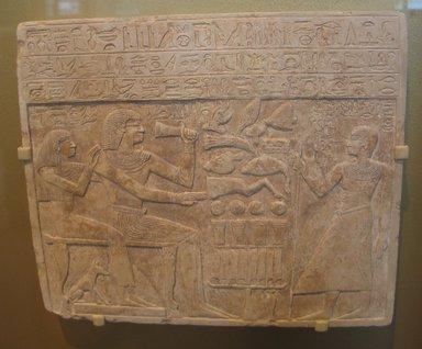 Stela of Intef and Senettekh, ca. 2065-2000 B.C.E. Limestone, 11 3/4 x 13 15/16 x 15/16 in. (29.8 x 35.4 x 2.4 cm). Brooklyn Museum, Charles Edwin Wilbour Fund, 54.66. Creative Commons-BY