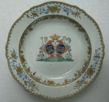 Plate, 1760-1770. Porcelain, 9 in. (22.9 cm). Brooklyn Museum, The Helena Woolworth McCann Trade Procelain Collection, Gift of the Winfield Foundation, 55.10.23. Creative Commons-BY