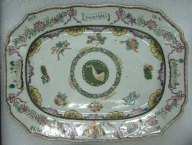 Platter, 1760-1770. Porcelain, 11 3/4 x 8 3/4 in. (29.8 x 22.2 cm). Brooklyn Museum, The Helena Woolworth McCann Trade Procelain Collection, Gift of the Winfield Foundation, 55.10.4. Creative Commons-BY