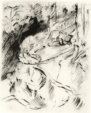 Lovis Corinth (German, 1858-1925). Cat on a Tree Trunk (Katze auf Baumstrunk), 1920. Etching and drypoint on wove paper, Image (Plate): 9 5/8 x 7 7/8 in. (24.4 x 20 cm). Brooklyn Museum, Gift of Benjamin Weiss, 55.113.14