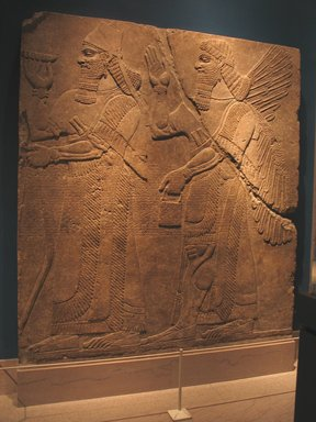 Assyrian. Relief of Ashurnasir, ca. 883-859 B.C.E. Alabaster, 91 1/8 x 83 3/8in. (231.5 x 211.8cm). Brooklyn Museum, Purchased with funds given by Hagop Kevorkian and the Kevorkian Foundation, 55.155. Creative Commons-BY