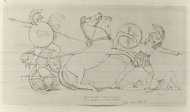 John Flaxman R.A. (British, born New York, United States, 1755-1826). Drawing for Pope's Illiad. Ink on paper, 6 3/4 x 14 in. (17.1 x 35.6 cm). Brooklyn Museum, Gift of Emily Winthrop Miles, 55.9.27