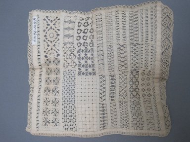 """Square """"Sampler,"""" 1800-1825. Lace, 7 1/2 x 8 in. (19.1 x 20.3 cm). Brooklyn Museum, Gift of Adelaide Goan, 55.96.123b. Creative Commons-BY"""