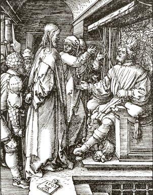 Albrecht Dürer (German, 1471-1528). Christ before Herod, 1509; edition of 1511. Woodcut on laid paper, Sheet: 5 1/4 x 4 1/16 in. (13.3 x 10.3 cm). Brooklyn Museum, Gift of Mrs. Howard M. Morse, 56.105.17