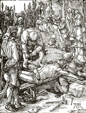 Albrecht Dürer (German, 1471-1528). Christ Nailed to the Cross, 1509-1511; edition of 1511. Woodcut on laid paper, Sheet: 5 3/16 x 4 in. (13.2 x 10.2 cm). Brooklyn Museum, Gift of Mrs. Howard M. Morse, 56.105.24