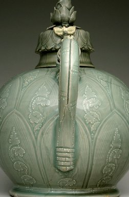 Ewer with Cover, first half of the 12th century. Stoneware with underglaze slip decoration and celadon glaze, 9 7/8 x 9 1/2 x 5 1/2 in. (25.1 x 24.1 x 14 cm). Brooklyn Museum, Gift of Mrs. Darwin R. James III, 56.138.1a-b. Creative Commons-BY