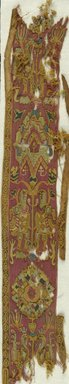 Coptic. Pair of Bands or Borders in Tapestry Weave, 5th century C.E., or later. Flax, wool, 57.120.1a: 3 3/4 x 28 in. (9.5 x 71.1 cm). Brooklyn Museum, Anonymous gift, 57.120.1a-b. Creative Commons-BY