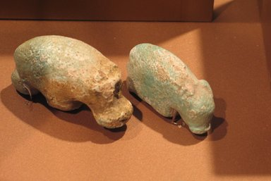 Statuette of a Standing Hippopotamus, ca. 3000-2675 B.C.E. Faience, 1 7/16 x 2 15/16 in. (3.7 x 7.4 cm). Brooklyn Museum, Gift of Mr. and Mrs. Alastair B. Martin, 58.14.2. Creative Commons-BY