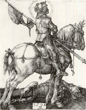 Albrecht Dürer (German, 1471-1528). Saint George and the Dragon, 1508. Engraving on laid paper, 4 1/4 x 3 3/8 in. (10.8 x 8.6 cm). Brooklyn Museum, Gift of Mrs. Charles Pratt, 57.188.15