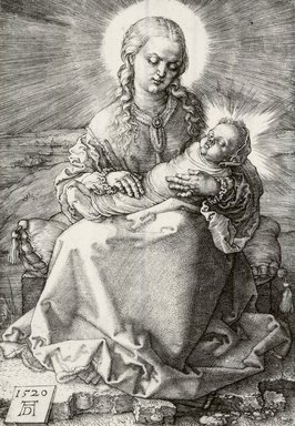 Albrecht Dürer (German, 1471-1528). The Virgin with the Infant Savior in Swaddling Clothes, 1520. Engraving on laid paper, 5 5/8 x 3 7/8 in. (14.3 x 9.8 cm). Brooklyn Museum, Gift of Mrs. Charles Pratt, 57.188.19