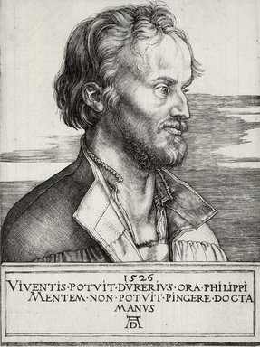 Albrecht Dürer (German, 1471-1528). Phillip Melanchthon, 1526. Engraving on laid paper, 6 3/4 x 5 in. (17.1 x 12.7 cm). Brooklyn Museum, Gift of Mrs. Charles Pratt, 57.188.20