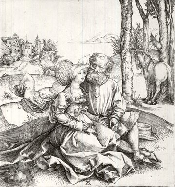 Albrecht Dürer (German, 1471-1528). The Offer of Love, ca. 1496. Etching on laid paper, 5 7/8 x 5 1/2 in. (14.9 x 14 cm). Brooklyn Museum, Gift of Mrs. Charles Pratt, 57.188.21