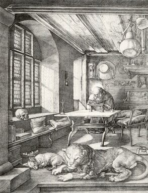 Albrecht Dürer (German, 1471-1528). St. Jerome in His Study, 1515. Etching on laid paper, 9 5/8 x 7 1/4 in. (24.4 x 18.4 cm). Brooklyn Museum, Gift of Mrs. Charles Pratt, 57.188.23