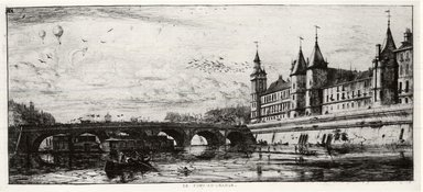 Charles Méryon (French, 1821-1868). Le Pont - Au - Change, 1854. Etching on laid paper, 6 1/8 x 13 in. (15.5 x 33 cm). Brooklyn Museum, Gift of Mrs. Charles Pratt, 57.188.32