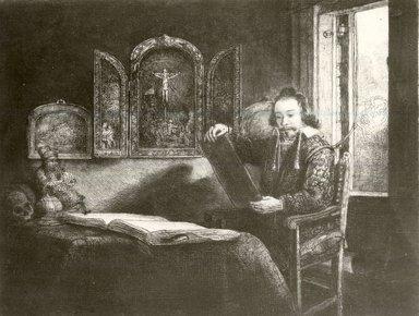 Rembrandt Harmensz. van Rijn (Dutch, 1606-1669). Abraham Francen, Art Dealer, ca. 1656. Etching on laid paper, 6 5/16 x 8 1/4 in. (16 x 21 cm). Brooklyn Museum, Gift of Mrs. Charles Pratt, 57.188.60