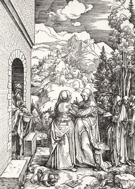 Albrecht Dürer (German, 1471-1528). The Visitation from the Life of the Virgin, ca. 1503. Woodcut on laid paper, 12 1/16 x 9 1/16 in. (30.6 x 23 cm). Brooklyn Museum, Gift of Mrs. Charles Pratt, 57.188.7