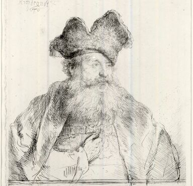 Rembrandt Harmensz. van Rijn (Dutch, 1606-1669). Old Man with a Divided Fur Cap, 1640. Etching on laid paper, Plate: 5 15/16 x 5 7/16 in. (15.1 x 13.8 cm). Brooklyn Museum, Gift of Mrs. Charles Pratt, 57.188.78