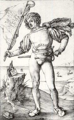 Albrecht Dürer (German, 1471-1528). The Standard Bearer, ca. 1500. Engraving on laid paper, 4 1/2 x 2 1/4 in. (11.4 x 5.7 cm). Brooklyn Museum, Gift of Mrs. Charles Pratt, 57.188.9