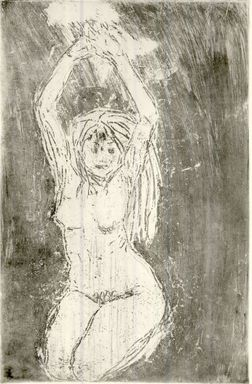 Emil Nolde (German, 1867-1956). Nude Model with Arms Upraised (Akt mit erhobenen Armen), 1908. Etching, drypoint and tonal effects in sepia ink on heavy wove paper, Image (Plate): 18 1/2 x 12 in. (47 x 30.5 cm). Brooklyn Museum, Carll H. de Silver Fund, 57.194.2