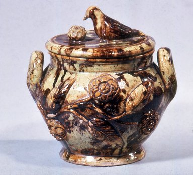 Anthony Wise Baecher (American, 1824-1889). Sugar Bowl, ca. 1870-1887. Glazed earthenware, 6 1/2 x 4 3/8 in. (16.5 x 11.1 cm). Brooklyn Museum, Gift of Huldah Cail Lorimer in memory of George Burford Lorimer, 57.75.6. Creative Commons-BY