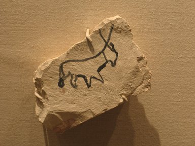 Ostracon with Sketch, ca. 1336-1295 B.C.E. Limestone, pigment, 3 11/16 x 5 7/16 in. (9.3 x 13.8 cm). Brooklyn Museum, Charles Edwin Wilbour Fund, 58.28.3. Creative Commons-BY