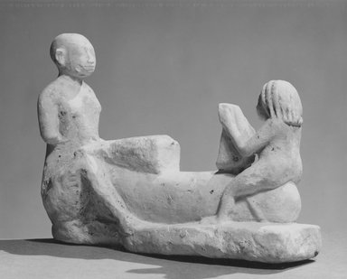 Erotic Musicians, 305-30 B.C.E. Limestone, painted, 5 13/16 x 8 1/4 in. (14.8 x 21 cm). Brooklyn Museum, Charles Edwin Wilbour Fund