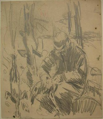 George Benjamin Luks (American, 1867-1933). Seated Man with Game, n.d. Graphite on paper, Sheet: 8 7/16 x 7 1/4 in. (21.4 x 18.4 cm). Brooklyn Museum, Dick S. Ramsay Fund, 58.43.4