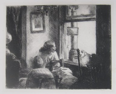 Edward Hopper (American, 1882-1967). East Side Interior, 1922. Etching on paper, Sheet: 13 1/8 x 16 1/4 in. (33.3 x 41.3 cm). Brooklyn Museum, Dick S. Ramsay Fund, 58.49. © Heirs of Josephine N. Hopper, licensed by the Whitney Museum of American Art