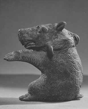Censer? Lamp or Container - dancing bear. Bronze, 3 7/8 x Diam. 3 5/8 in. (9.8 x 9.2 cm). Brooklyn Museum, Charles Edwin Wilbour Fund, 58.97. Creative Commons-BY