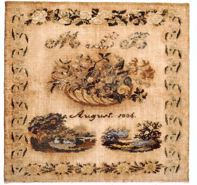 American. Sampler, 1836. Wood on linen, 17 3/4 x 17 1/4 in. (45.1 x 43.8 cm). Brooklyn Museum, Gift of Mrs. Alfred Zoebisch, 59.143.37. Creative Commons-BY