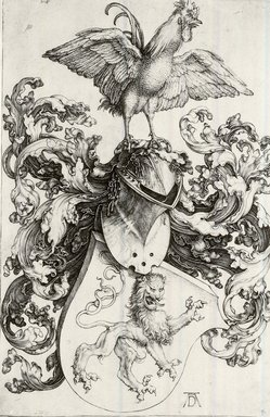Albrecht Dürer (German, 1471-1528). Coat of Arms with Lion and Rooster, 1503. Engraving on laid paper, 7 5/16 x 4 3/4 in. (18.5 x 12 cm). Brooklyn Museum, Gift of Katherine Kuh in memory of Edgar C. Schenck, 59.235.1