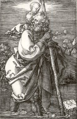 Albrecht Dürer (German, 1471-1528). Saint Christopher with Head Turned Back, 1521. Engraving on laid paper, Sheet: 4 5/8 x 2 7/8 in. (11.7 x 7.3 cm). Brooklyn Museum, Gift of Katherine Kuh in memory of Edgar C. Schenck, 59.235.2