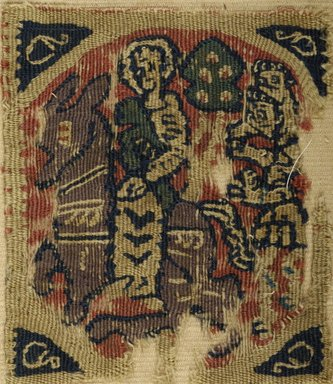 Coptic. Square Textile, 5th-6th century C.E. Wool, 4 7/8 x 4 1/4 in. (12.4 x 10.8 cm). Brooklyn Museum, Gift of Dr. Lillian Malcove, 59.54. Creative Commons-BY