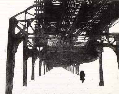 Gerson Leiber (American, born 1921). Under the El, 1957. Etching on wove paper, 17 3/4 x 23 7/8 in. (45.1 x 60.6 cm). Brooklyn Museum, Gift of the artist, 59.64.1. © Gerson Leiber
