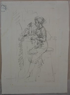 Isabel Bishop (American, 1902-1988). Soda Fountain, n.d. Pen and ink on paper, Sheet: 11 13/16 x 8 5/8 in. (30 x 21.9 cm). Brooklyn Museum, Dick S. Ramsay Fund, 60.126.1. © Estate of Isabel Bishop