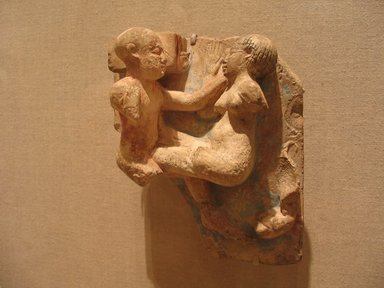 Relief of a Copulating Couple, 305-30 B.C.E. Limestone, Base: 6 5/16 x 5 7/16 in. (16 x 13.8 cm). Brooklyn Museum, Charles Edwin Wilbour Fund, 60.181. Creative Commons-BY