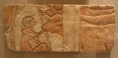 Relief, Feeding Calves, ca. 1352-1336 B.C.E. Limestone, painted, 9 1/16 x 21 1/4 in. (23 x 54 cm). Brooklyn Museum, Charles Edwin Wilbour Fund, 60.197.4. Creative Commons-BY